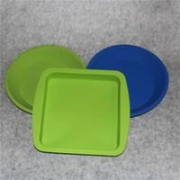 Contenitore di piatto in silicone alimentare di forma rotonda e quadrata, contenitore in silicone per alimenti / frutta / cera