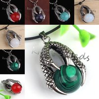 Wholesale 10Pcs Silver Plated Hot Selling Retro Dragon Claw Catch Various ReiKi Quartz Stone Beads Pendant Fashion Jewelry