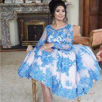 Luz Azul Applique Lace Tea Comprimento Prom Vestidos 2019 Scoop Neck Illusion Mangas Compridas Desgaste Do Partido Formal Dubai Mulheres Vestidos de Noite
