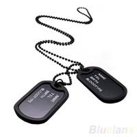 Military Army Style Black 2 Erkennungsmarken Kette Herren Anhänger Halskette Schmuckstücke 08IU