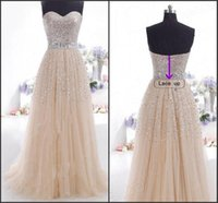2019 Cheap Champagne Evening Dresses Sweetheart Sexy Backles...