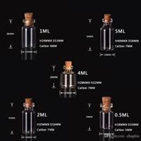 0.5ml 1ML 1 ml de flacon de 5 ml 5 ml de flacon de verre transparent avec bouteille de verre miniature de bouchons avec liège vide échantillon pots / messages mariages Wishding Bijoux