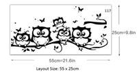 Cartoon Five Owls on the Tree Branches Wall Stickers Owls Fa...