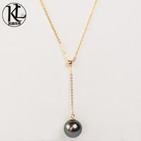 modisches Design Echte natürliche Kultur 9-10mm Tahitian Perlenschmuck 18K Gold einstellbar Tahiti Black Pearl Anhänger Halskette für Frauen