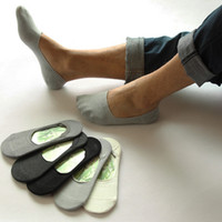 Wholesale-5pair Men's Casual Boat Socks Non-Slip Invisible Socks Low Cut No Show Slippers Meias Sport Sock Men's Short Socks for Men