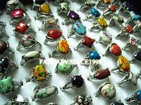 Vendita calda all'ingrosso lotti misti 25pcs arcobaleno da donna in pietra in lega di metallo gioielli moda gioielli anelli di marca nuovo di zecca