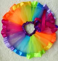 Filles Enfants Petticoat Arc En Ciel Pettiskirt Bowknot Jupe Tutu Robe Dancewear 0-8Y Livraison Gratuite