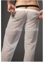 All'ingrosso-Moda pantaloni per il tempo libero sonno pantaloni pigiama uomo homewear sonno indossare per gli uomini trasparenti pantaloni trasparenti biancheria intima lounge