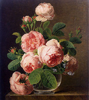 Jan Frans van Dael - Still Life of Roses in a Glass vase, Fre...