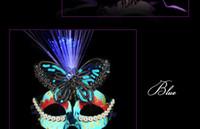 Natale puntelli all'ingrosso maschera luminosa Venezia mezza maschera da ballo danza principessa trucco femminile partito luminoso farfalla maschera in fibra di piume