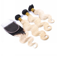 Ombre Color #1B 613 Hair Extensions With Lace Closure Body Wave Hair Weaves With Lace Closure Unprocessed Hair Extensions