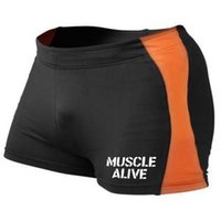 MUSCLE ALIVE Gyms Clothing Bodybuilding Tight Shorts Men Fit...