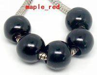 Atacado 100 Pçs / lote Preto Imitação de Pérolas Encantos Europeus para Fazer Jóias Solto Big Hole Acrílico Beads Fit Pulseira Europeia colar