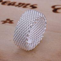 بيع شبكة الاسترليني الفضة مطلي الدائري GR040، حلقات نسائية من الفضة 925