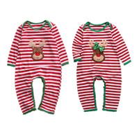 Listrado babador Xmas da menina do menino Roupa Pijama Outfit recém-nascido Crianças Natal Romper Rudolph Reindeer 2 estilos roupas de inverno Atacado