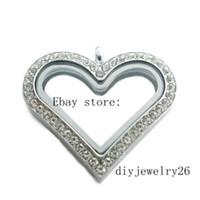 Neue 10 stücke 30mm Chrom Sparkle Herz Floating Memory Living Glass Medaillon JK21-1