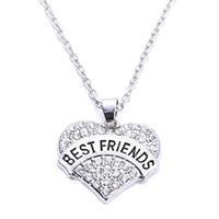 أحدث أفضل هدية الزنك مطلي الروديوم مرصع بالكريستال البراقة أفضل الأصدقاء قلادة القلب سلسلة ربط القمح قلادة