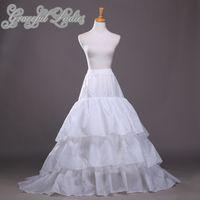 Artı Boyutu Gelinlik Petticoats Naylon A-Line Tam Kıyafet Şapel Tren 3 Kademe Kayma Tarzı / Düğün Reklam Gelin Kıyafeti Için