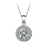 925 plaqué argent collier rond grand cristal cubique zircone pendentif colliers avec Chian bijoux de mode pour les amoureux cadeau de Saint Valentin