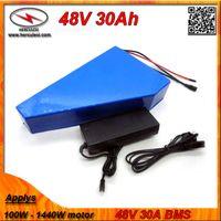 Треугольник форма 1000W Электрический велосипед батарея 48V 30Ah с мешком батареи построен в Samsung мобильного 30А BMS + 2A зарядное устройство БЕСПЛАТНОЙ ДОСТАВКИ