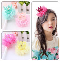 2016 hot sale girl Shinning hair Clips princess lace crown h...