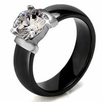 6mm Weiß Schwarz Keramik Ringe Plus Große Zirkonia Für Frauen Edelstahl Frauen Hochzeit Ring Engagement Schmuck Nie verblassen