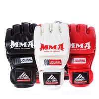 قفازات الملاكمة قفازات بو الجلود نصف اصبع مكافحة MMA الملاكمة التايلاندية الملاكمة التدريب قفازات أسود أحمر أبيض 22 * 11 * 2.5CM