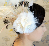 Ivory Bridal Feather Fascinator headband Wedding Feaather He...