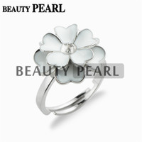5 Pieces White Flower Cluster Ring Pearl Settings 925 Sterli...