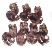 1 kg / grup renkli kahverengi 8 inç Brezilyalı insan saç uzantıları 30 adet toplu miktarı işlenmemiş dalga örgü güzel parıltı 7A notu