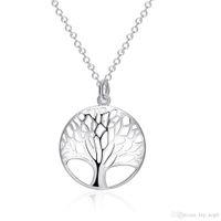 Árbol de vida colgante collar de moda exquisito clásico collar de plata 925 joyería de plata esterlina para la dama boda fiesta de compromiso accesorio