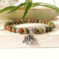SN0345 Elefante pulseira de boa sorte para o homem unakite pulseira de pedra natural Ganesh yoga cura energia pulso pulseira mala dos homens