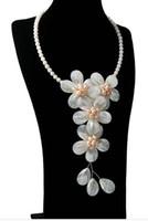 Bijoux fantaisie naturel perle vert poudre collier blanc shell fait main exagéré style longue chaîne de chandail de fleurs