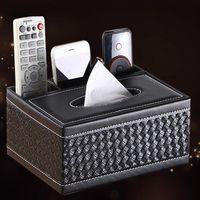 Boîte de mouchoirs en cuir PU en gros-Rectangulaire TV Télécommande Holder Organizer for Home Office Automotive