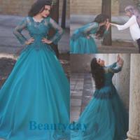 Teal Azul Vestidos de Baile 2019 Formal Desgaste da Noite Do Partido Pageant Vestidos de Manga Longa Ocasião Especial Vestido Dubai 2k17 Vintage
