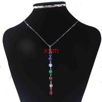 10pc Natürlicher Kristall DIY Art und Weise Style 7 Reiki Chakren Anhänger-Halskette Charme-Schmucksachen für Frauen Verschiffen