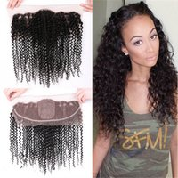 Kinky Curly Hair Weaves 3 Bundles With Silk Base Lace Fronta...