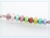 9 unids S925 Tornillo de Plata de ley Núcleo de Lampwork Color de Firma Fluorescencia de Cristal de Murano Adapta Pandora Europea Pulseras del encanto Collares