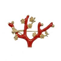 Mori Gril Esmalte rojo Wintersweet Broche Pin Ciruelo Árbol Traje Accesorio Joyería de moda