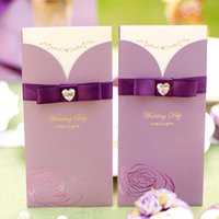 Wholesale purple wedding invitations buy cheap purple wedding elegant wedding invitations cards with crystal bow 2016 purple pink red wedding card best selling cheap filmwisefo