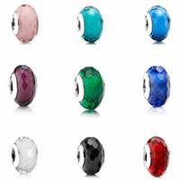 Hochwertige 9pcs 925 Sterlingsilber Faszinierende facettierte Murano Glasperlen passende europäische Art-Charme Schmuck Armbänder Halsketten