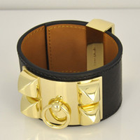 Hot sale CDC New design Titanum steel bracelet with genuine leather in many colors Women and man brand name jewelry gifts PS5375