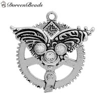"""Steampunk Pendants Gear Wing Antique Silver Clear Rhinestone Hollow 47mm(1 7/8"""")x 46mm(1 6/8""""), 5 PCs 2016 new Free shipping jewelry making"""