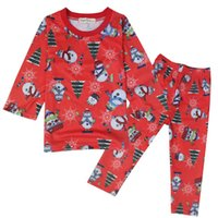 2017 Navidad Pijamas para niños Pijama Sets Boys Pijamas Girls PJS Paja Pajamas Santa Nightgown Santa Claus Pijama Traje al por mayor