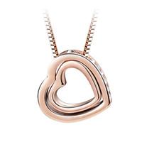 جديد سواروفسكي عنصر كريستال مزدوجة القلب قلادة قلادة الأزياء collares للنساء اكسسوارات الزفاف مجوهرات أفضل هدية عيد الحب