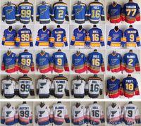 St Louis Blues Jerseys Hóquei no gelo Vintage 16 Brett Casco 99 Wayne Gretzky 2 AL Macinnis 9 Shayne Corson 9 Doug Gilmour azul branco