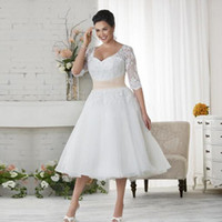 2016 wedding gowns 1 2 sleeve plus size lace wedding dresses cheap beach chiffon tea length plus size white ivory formal women wear