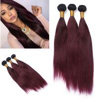 Шелковистая прямая ломбер человеческих волос 3 пучки два тона цветные 1B/99J ломбер волос ткет Бургундия бразильский прямой Вино красное наращивание волос