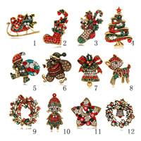 새로운 크리스마스 선물 보석 도매 크리스마스 트리 브로치 빈티지 합금 여러 가지 빛깔의 크리스탈 크리스마스 브로치 꽃다발 의상 핀 재고 있음