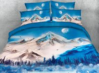 3D Blue Snow Mountain Lake Dovet Cover Set Pillow Covers Moo...